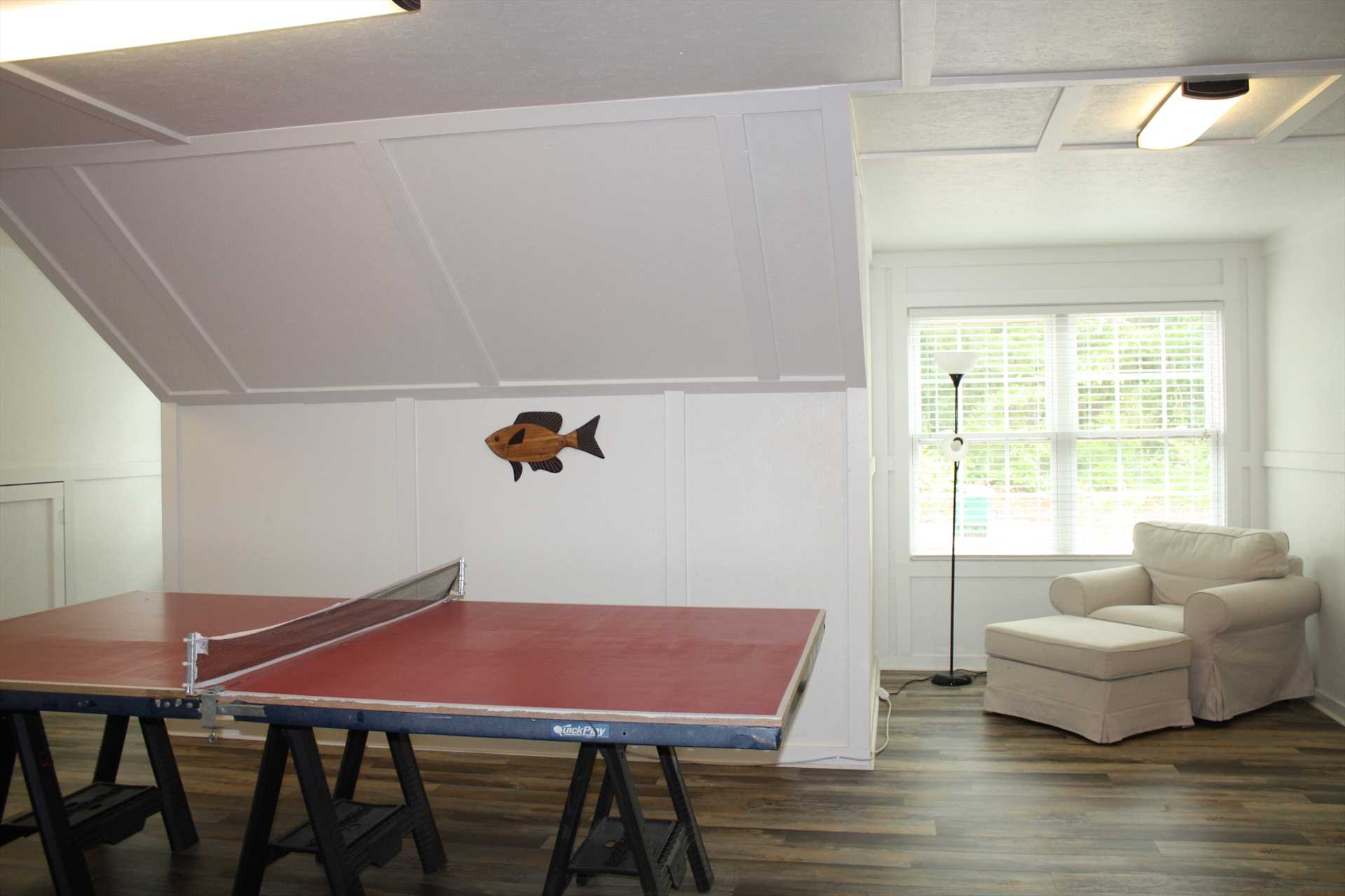 Upstairs ping pong table
