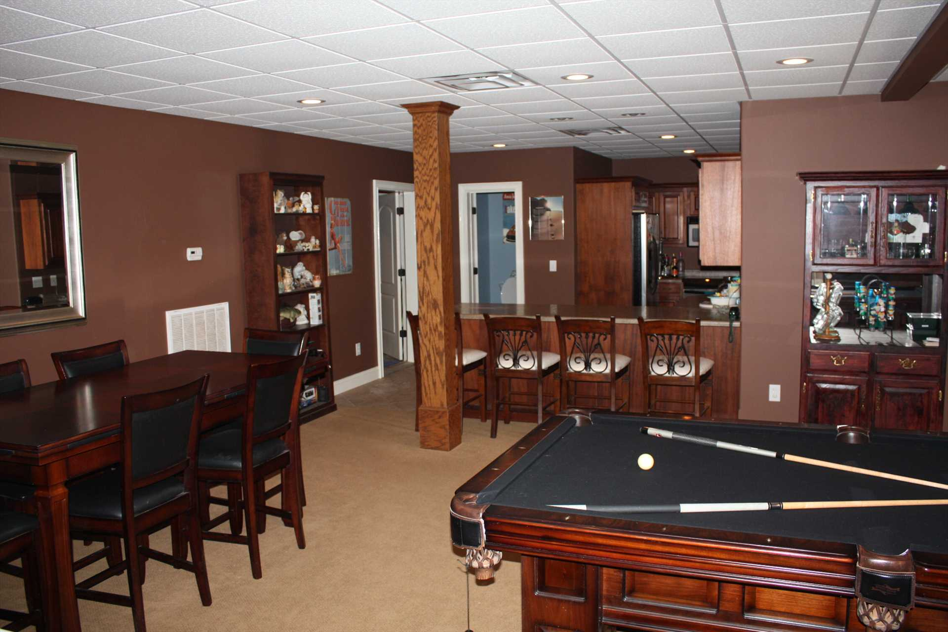Basement game room and kitchen