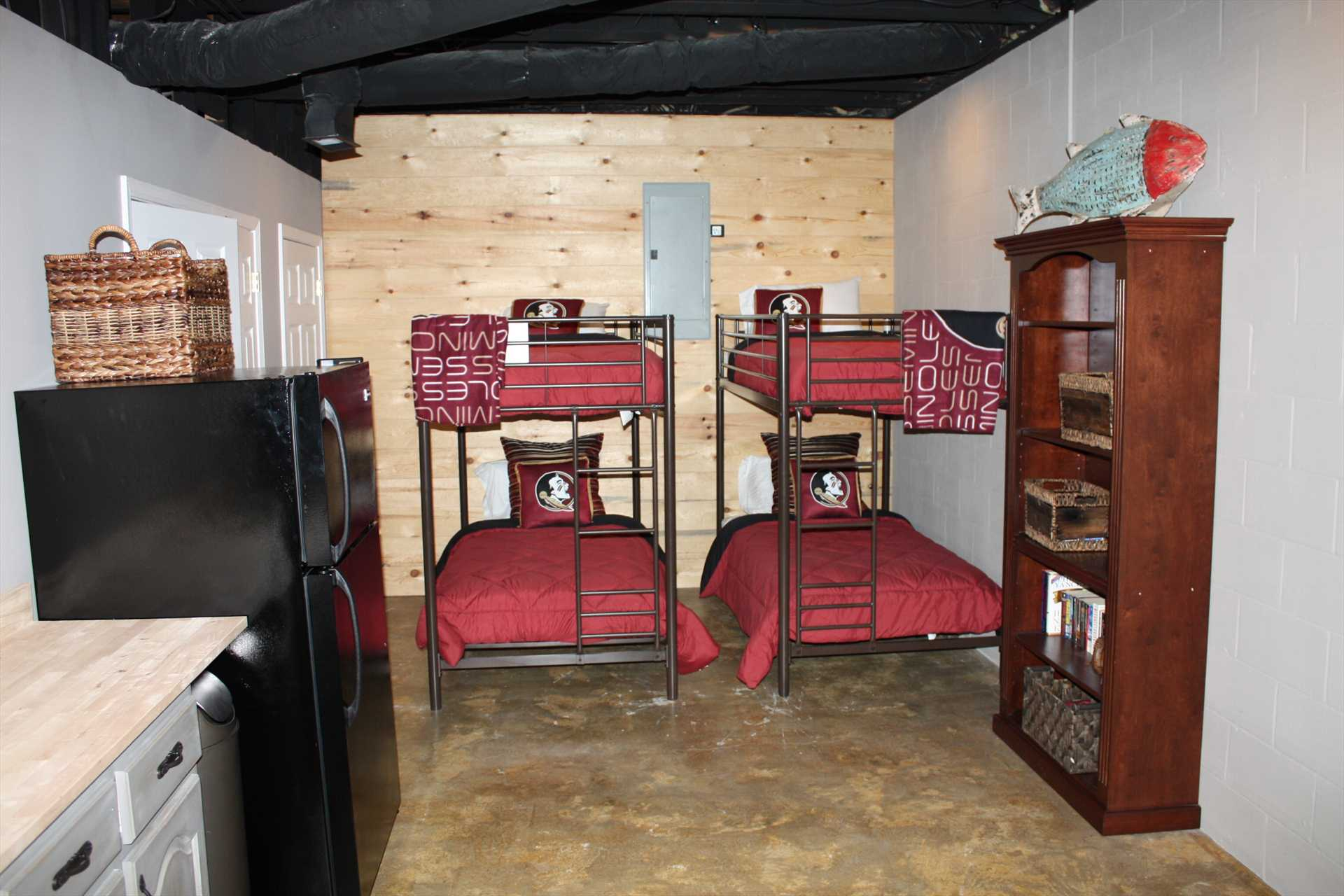 2 sets of bunk beds in Basement