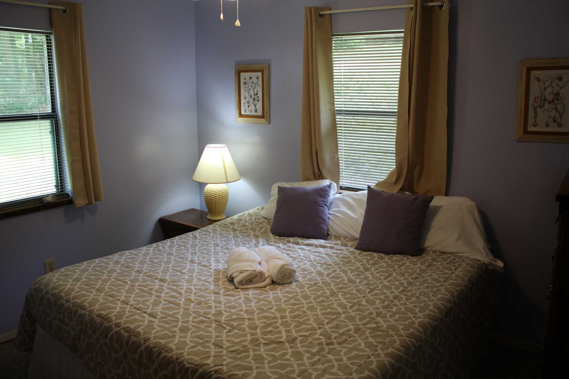 King size bed with private bathroom